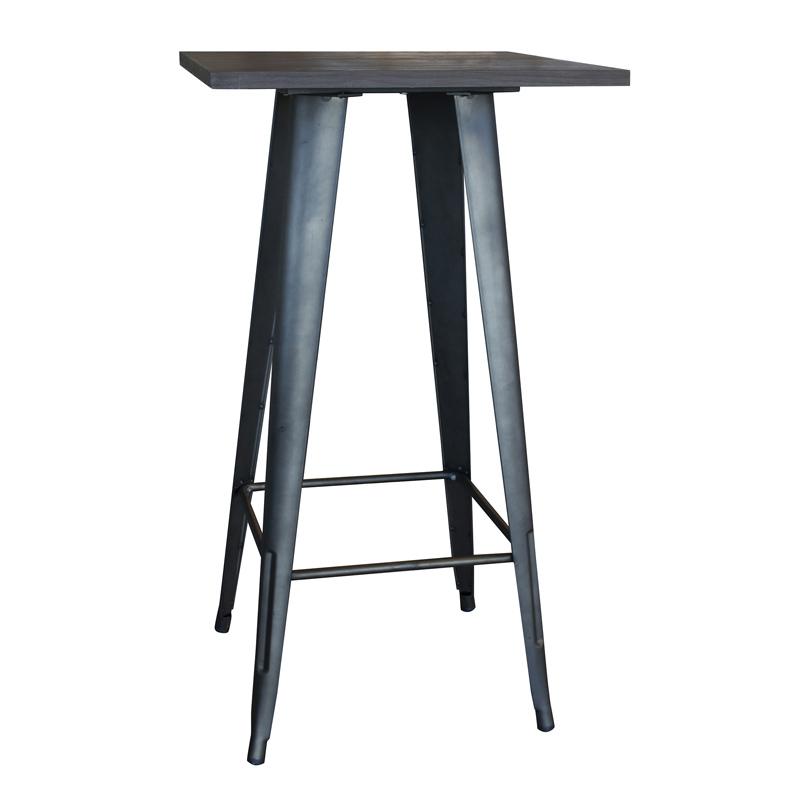 AmeriHome Loft Rustic Gunmetal Metal Pub Table with Wood Top