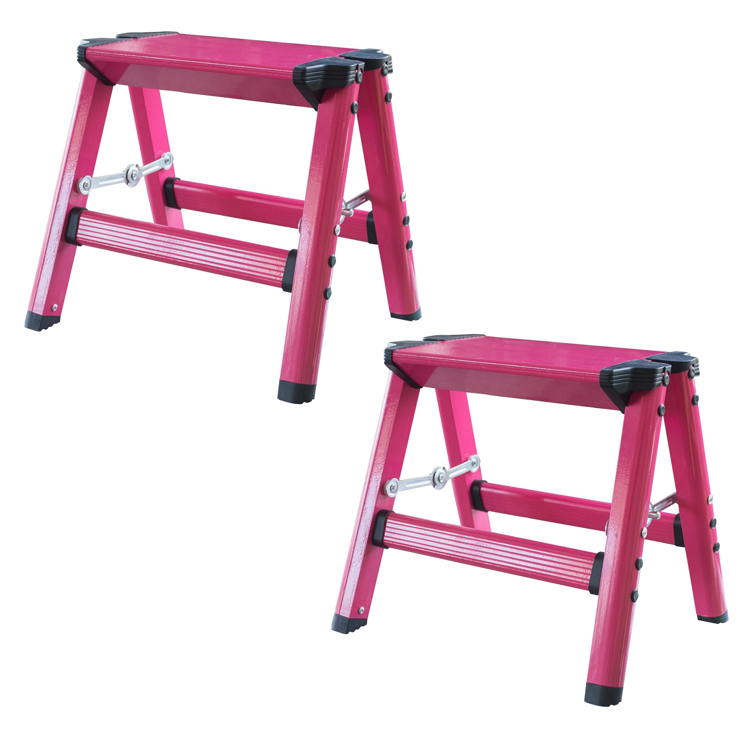 AmeriHome Lightweight Single Step Aluminum Step Stool 2 Piece Set - Bright Pink