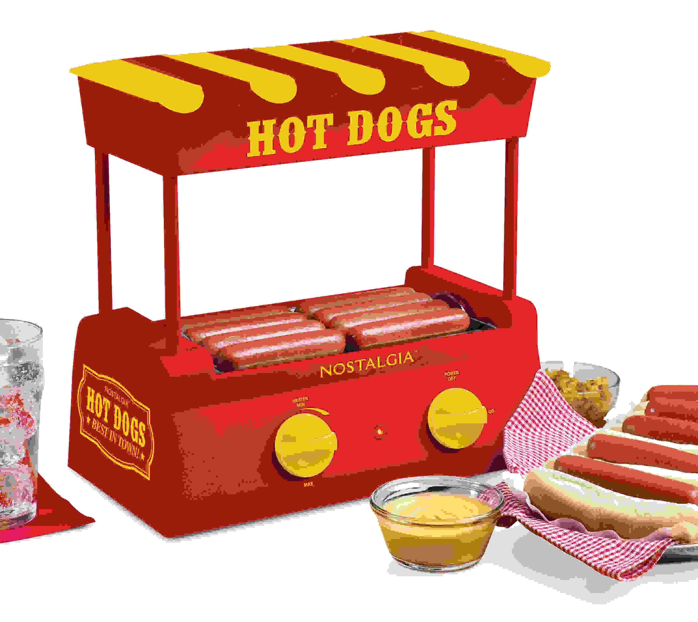 Nostalgia Hot Dog Roller and Bun Warmer, 8 Hot Dog and 6 Bun Capacity