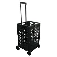 Olympiatools Pack-N-Roll Mesh Rolling Cart, 55 lb, Plastic, Black