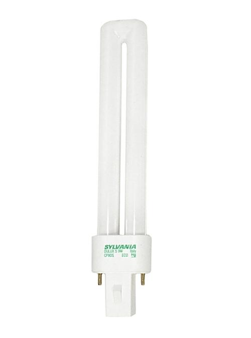 SYLVANIA DULUX� S PREHEAT ECOLOGIC� SINGLE TUBE COMPACT FLUORESCENT LAMP, T4, 9 WATTS, 5000K, 82 CRI, G23 BASE