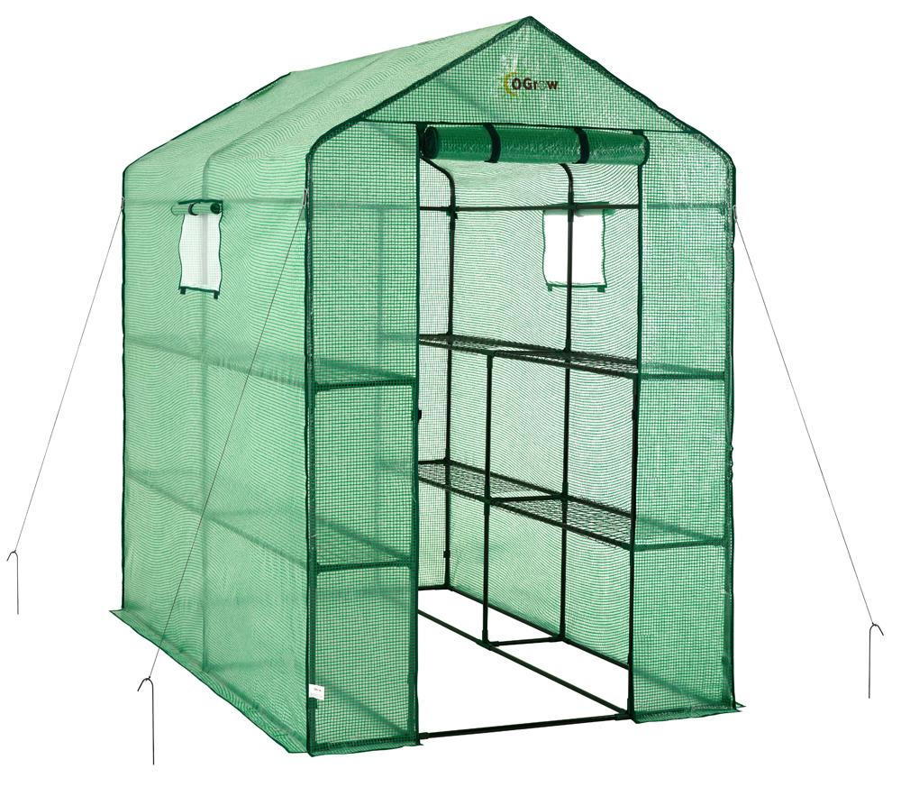 Ogrow Large Heavy Duty Walk-In 2 Tier 8 Shelf Portable Lawn & Garden Greenhouse