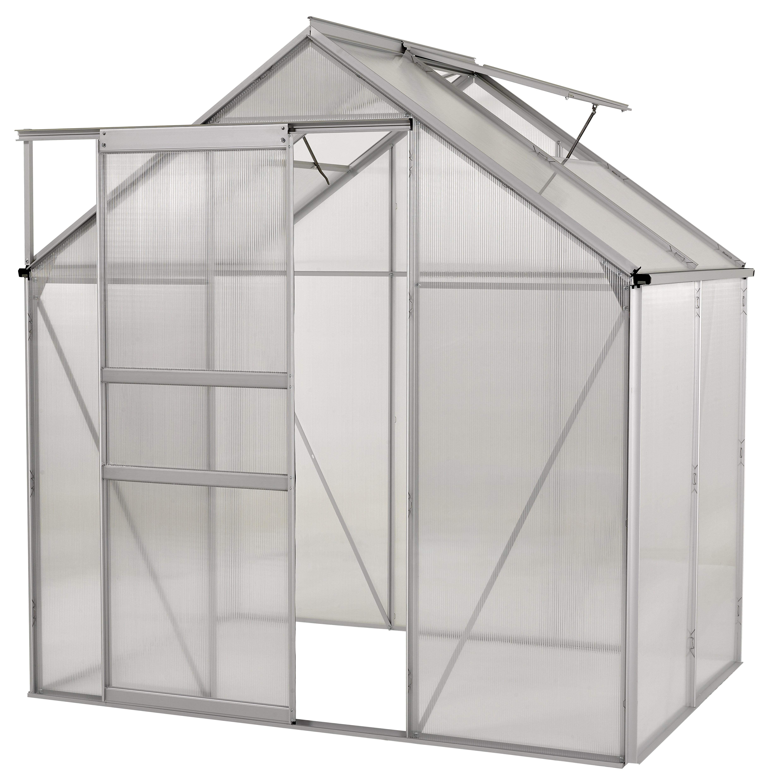 Ogrow Aluminium Greenhouse - Walk-In 6' X 4'- With Sliding Door And Double Roof Vent