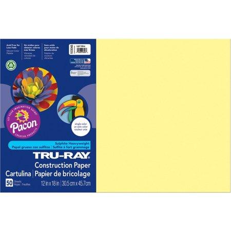Tru-Ray Construction Paper, 76lb, 12 x 18, Light Yellow, 50/Pack