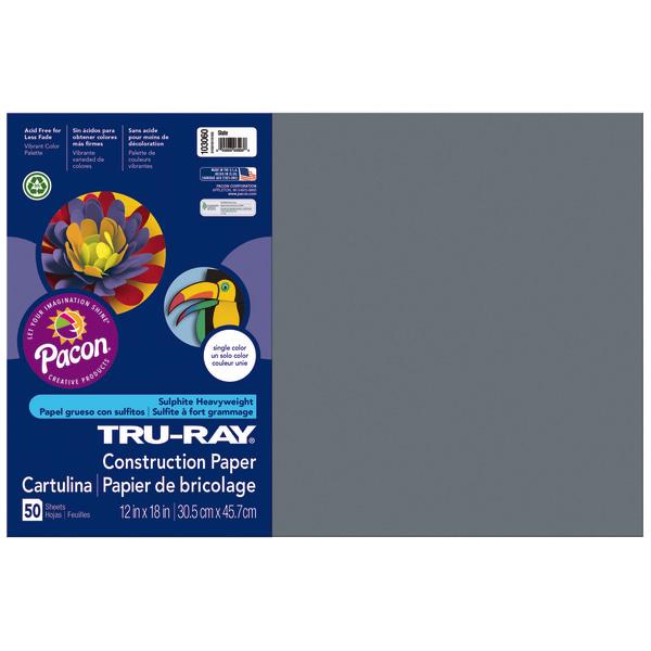 Tru-Ray Construction Paper, 76lb, 12 x 18, Slate, 50/Pack