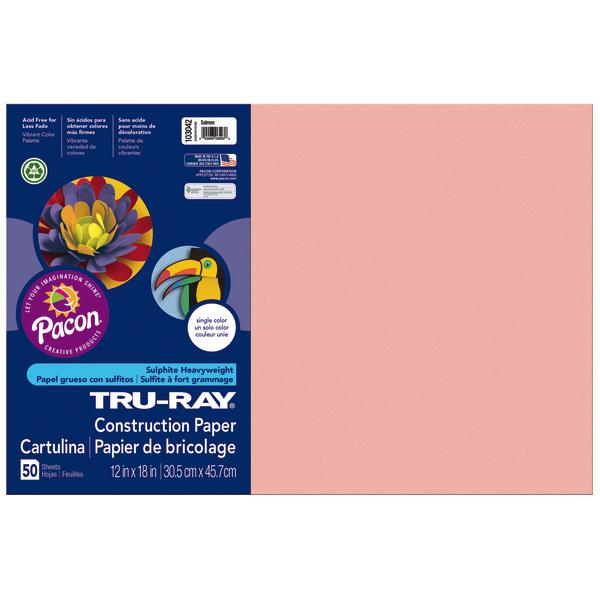 Tru-Ray Construction Paper, 76lb, 12 x 18, Salmon, 50/Pack
