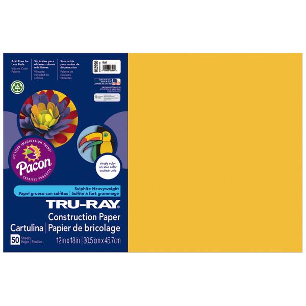 Tru-Ray Construction Paper, 76lb, 12 x 18, Gold, 50/Pack