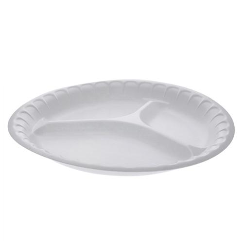 "Laminated Foam Dinnerware, 3-Compartment Plate, 10.25"" Diameter, Black, 540/Carton"