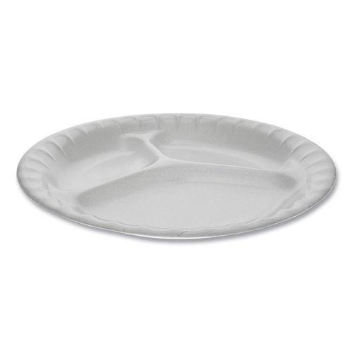 "Laminated Foam Dinnerware, 3-Compartment Plate, 8.88"" Diameter, White, 500/Carton"