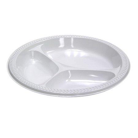 "Meadoware� OPS Dinnerware, 3-Compartment Plate, 10.25"" Diameter, White, 500/Carton"