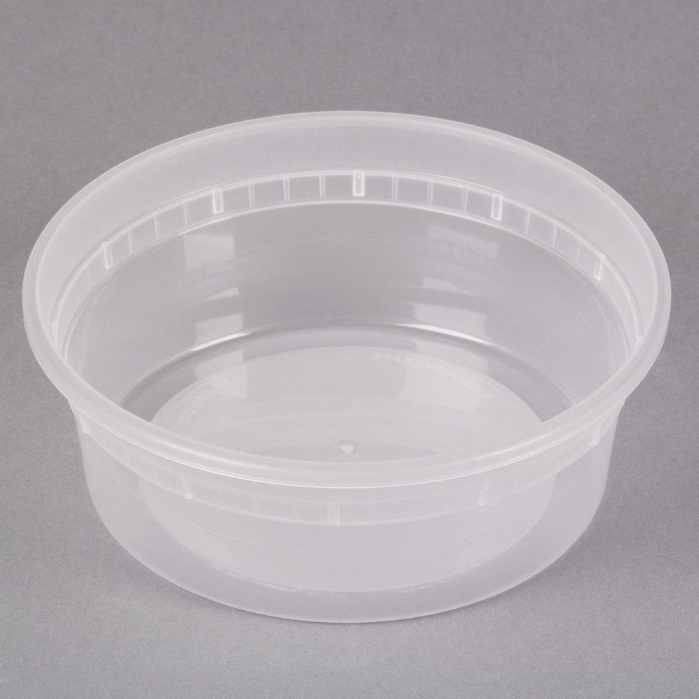 DELItainer Microwavable Container Bulk, Translucent, 8 oz, 4.55 x 4.55 x 1.8, 480/Carton