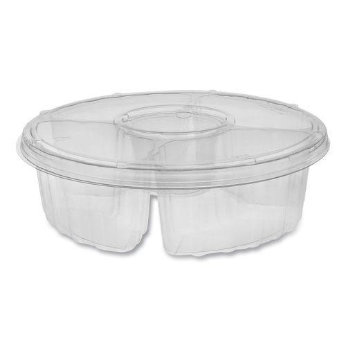 "Dip Cup Platter, 4-Compartment, 10"" dia, 64 oz, Clear, 100/Carton"
