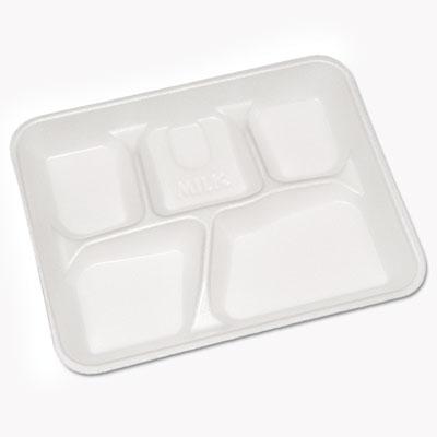 Lightweight Foam School Trays, White, 5-Compartment, 8 1/4 x 10 1/2, 500/Carton