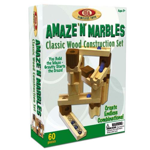 60 Piece Amaze N' Marbles Classic Wood Construction Set