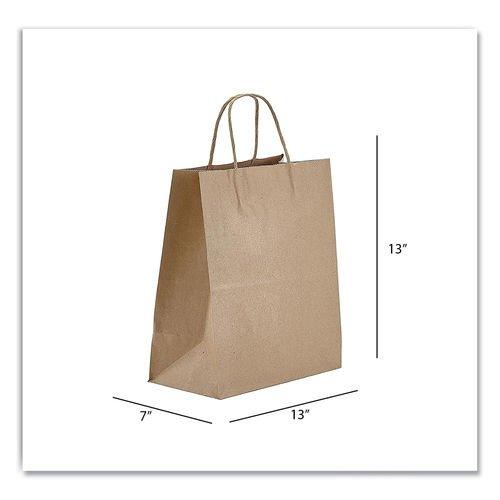 Kraft Paper Bags, Jr. Mart, 13 x 7 x 13, Natural, 250/Carton