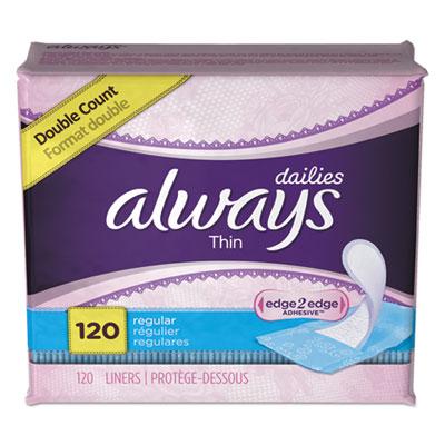 Dailies Thin Liners, Regular, 120/Pack, 6 Pack/Carton