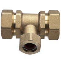 Pro-Flex PFTE-CCB6 Tube Tee, 3/4 X 3/4 X 1/2 in, Run X Run X Branch, Brass