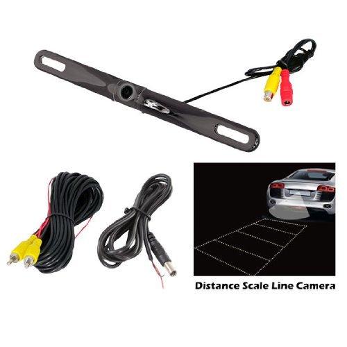 PYLE PLCM18BC License Plate Camera with Distance-Scale Line (Zinc Black Chrome)