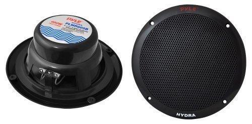 6 1/2'' 2-Way Dual Cone Marine Speakers- Black 400W Max