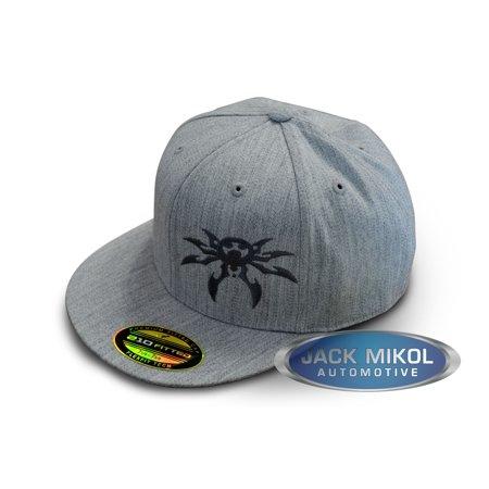 Poison Spyder Customs FlexFit Flatbill Spyder Logo Hat in Ash Gray, Large/X-Large 50-46-205-L