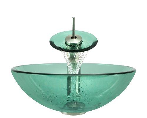 P106 Emerald Brushed Nickel Bathroom Ensemble (Vessel Sink, Waterfall Faucet, Pop-Up Drain, And