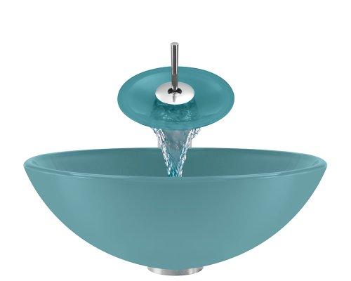 P106 Turquoise Chrome Bathroom Ensemble (Vessel Sink, Waterfall Faucet, Pop-Up Drain, & Sink R