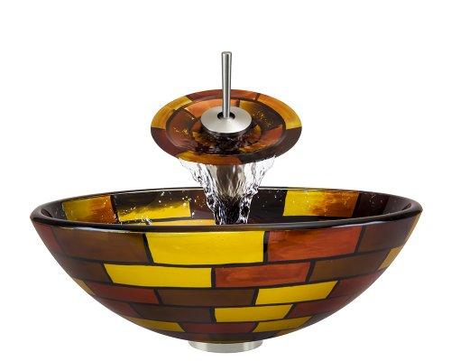 P126 Brushed Nickel Bathroom Ensemble (Vessel Sink, Waterfall Faucet, Pop-Up Drain, & Sink Rin