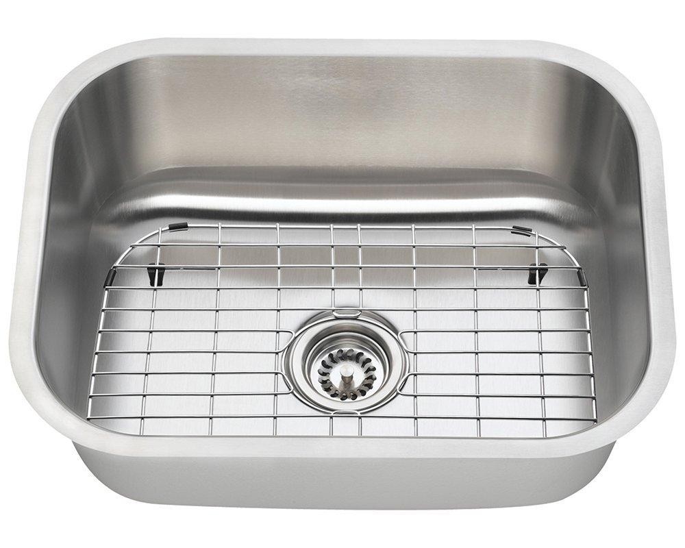 Polaris Sinks P8132 16 Gauge Kitchen Ensemble (Bundle - 4 Items: Sink, Standard Strainer, Sink Grid, and Cutting Board)