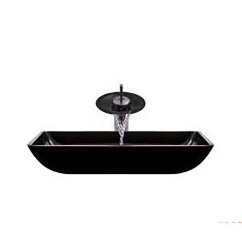 P046 Black-ABR Bathroom Waterfall Faucet Ensemble