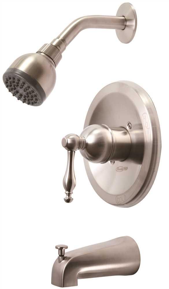 WELLINGTON SINGLE-HANDLE CERAMIC DISC TUB AND SHOWER FAUCET SET, BRUSHED NICKEL