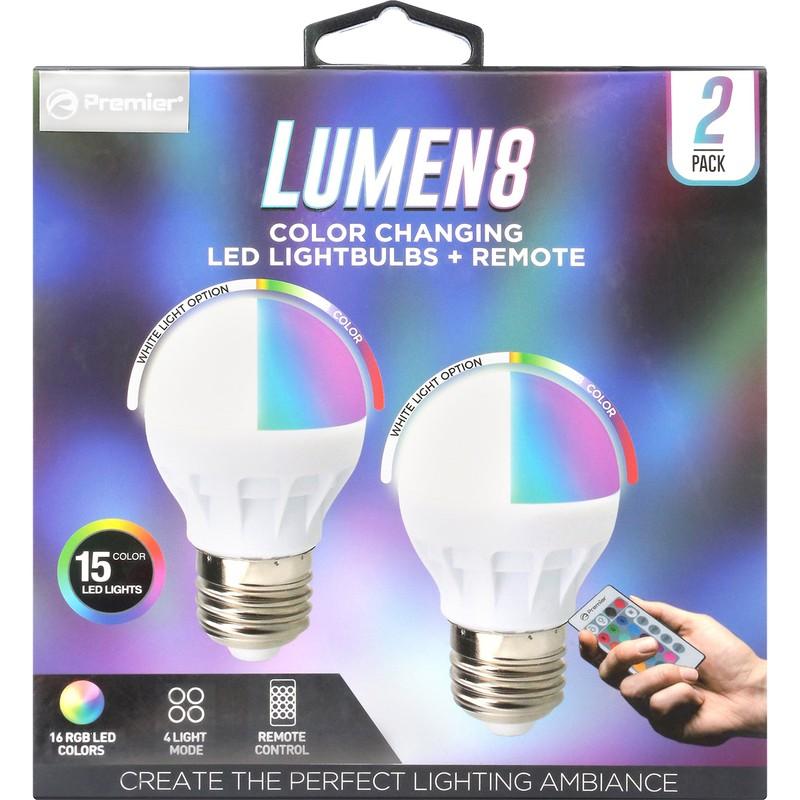 Lumen 8 LED Bulb w/Remote 2pk