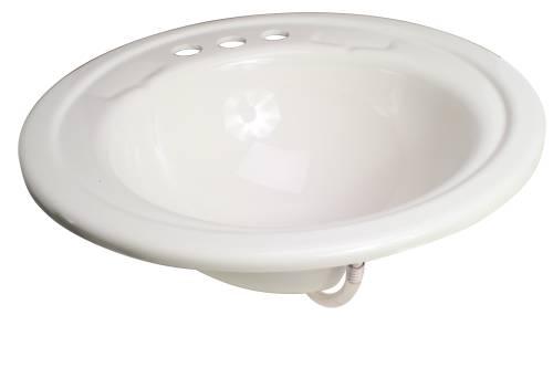 PREMIER BATHROOM SINK DROP IN ACRYLIC 19 IN. ROUND WHITE