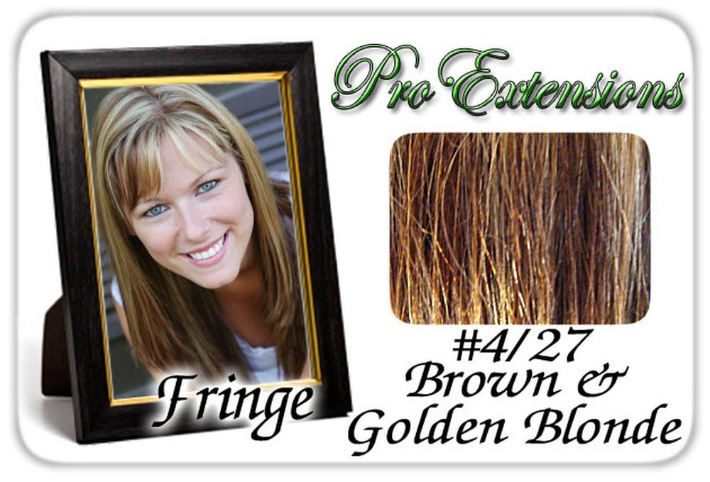 #4/27 Brown w/ Golden Highlights Pro Fringe Clip In Bangs