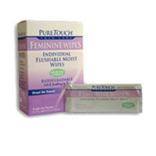Puretouch Individual Flushable Moist Feminine Wipes (1x12 Count)