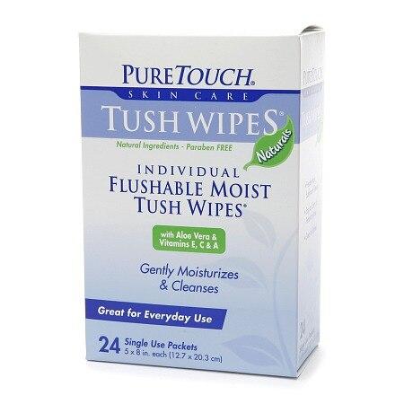 Puretouch Tush Wipes Flushable (1x 24 Wipes)