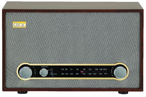 QFX RETRO100 RETRO BLUETOOTH AM FM RADIO WITH USB CHARGING