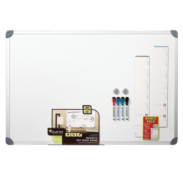 Euro-Style Magnetic Dry-Erase Aluminum Frame Boards, 36 x 24, Aluminum Frame