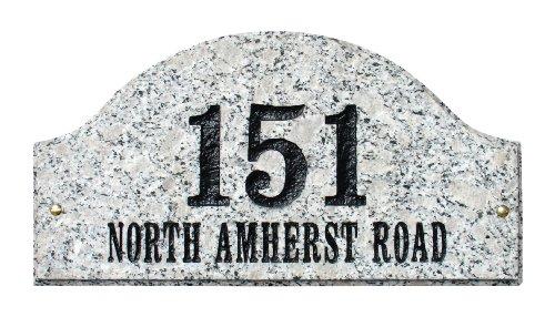 Solid Granite Address Plaque, Ridgecrest Arch, White Granite Natural