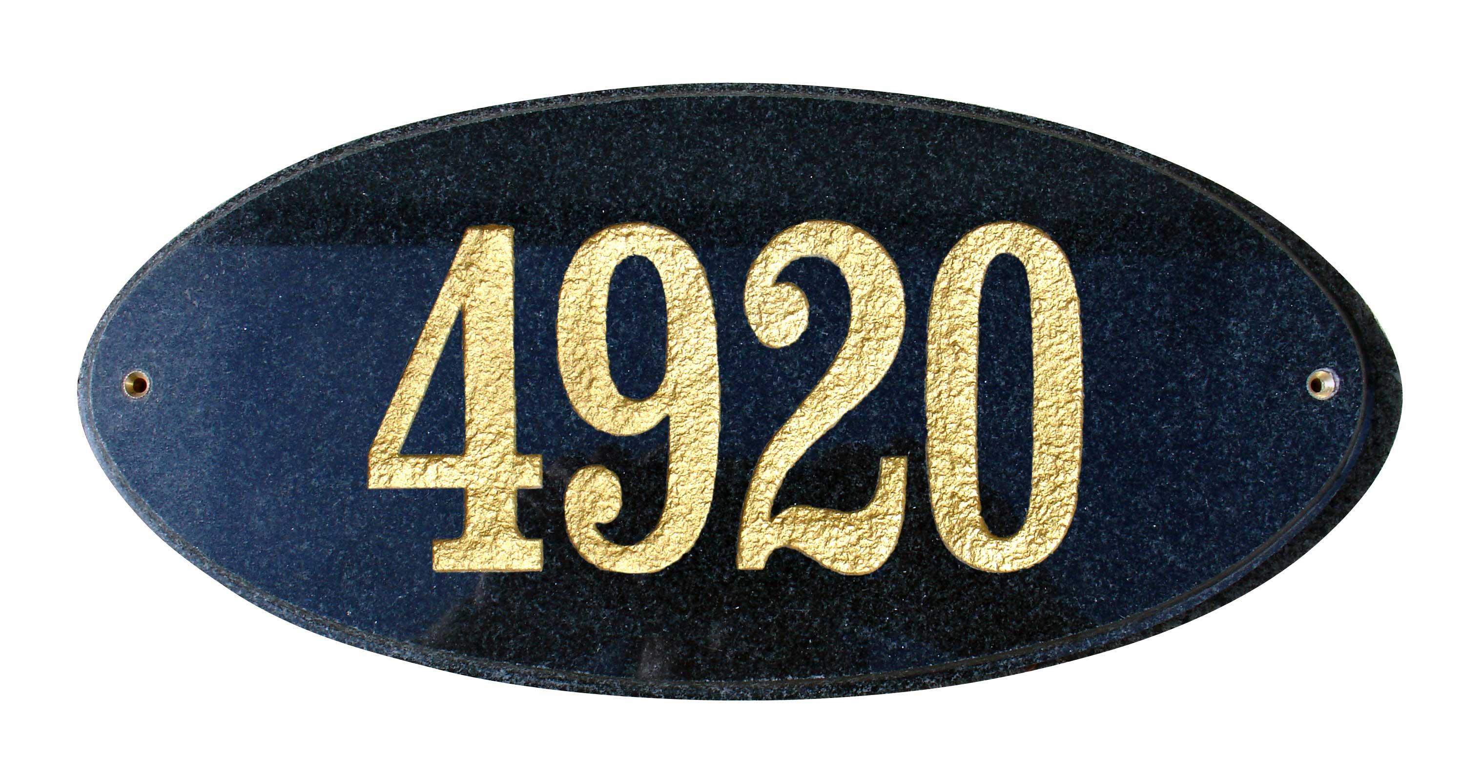 Solid Granite Address Plaque, Rockport Oval, Black Polished
