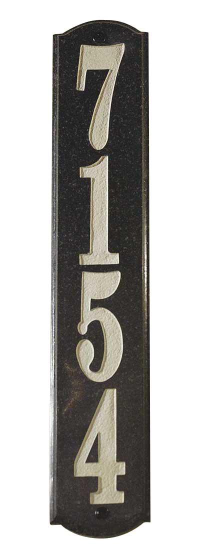 Solid Granite Address Plaque, Wexford Vertical, Black Polished