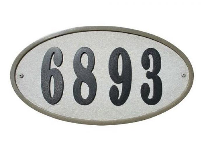 "Ridgestone Crushed Stone Address Plaque ""Do it yourself kit"", Oval Slate"