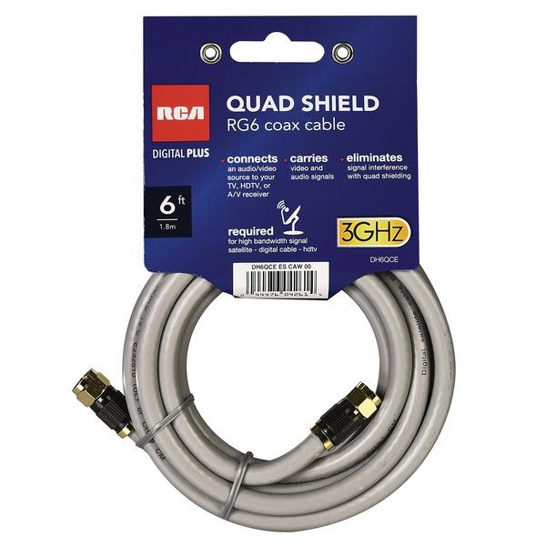 RCA DH6QCE Quad-Shield RG6 Coax Cable, 6 Feet