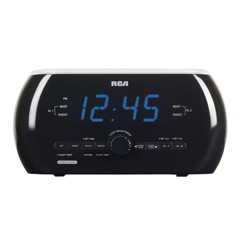 RCA RC220 BLACK ALARM CLOCK RADIO SOFT LIGHT ALARM DUAL WAKE
