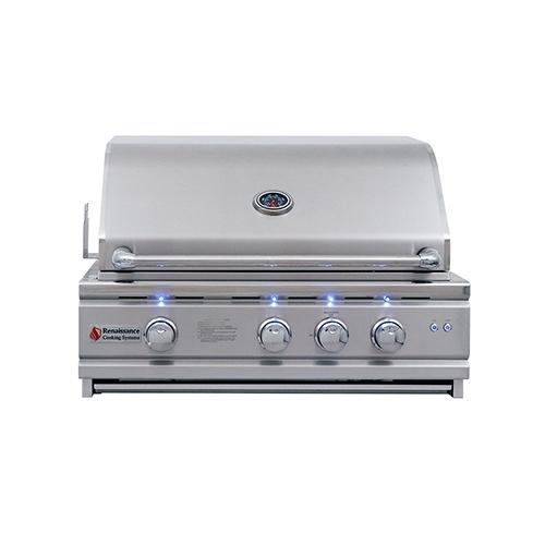 "30"" Cutlass Pro Grill, Blue LED W/Rear Burner"