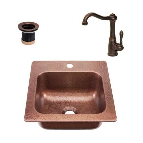 Copper Bar Sink & Faucet 15x15-16 Gauge Copper Sink-Hot & Cold Water