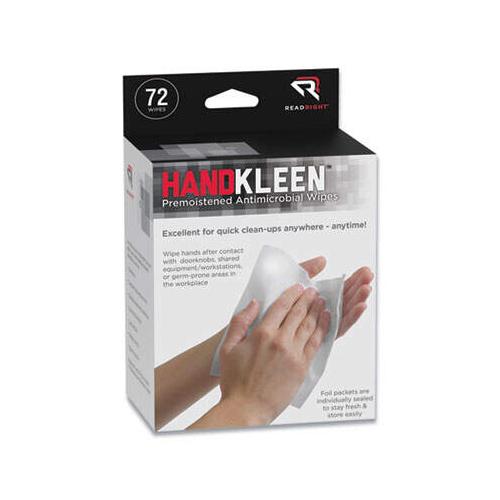 HandKleen Premoistened Antibacterial Wipes, 7 x 5, Foil Packet, 72/Box