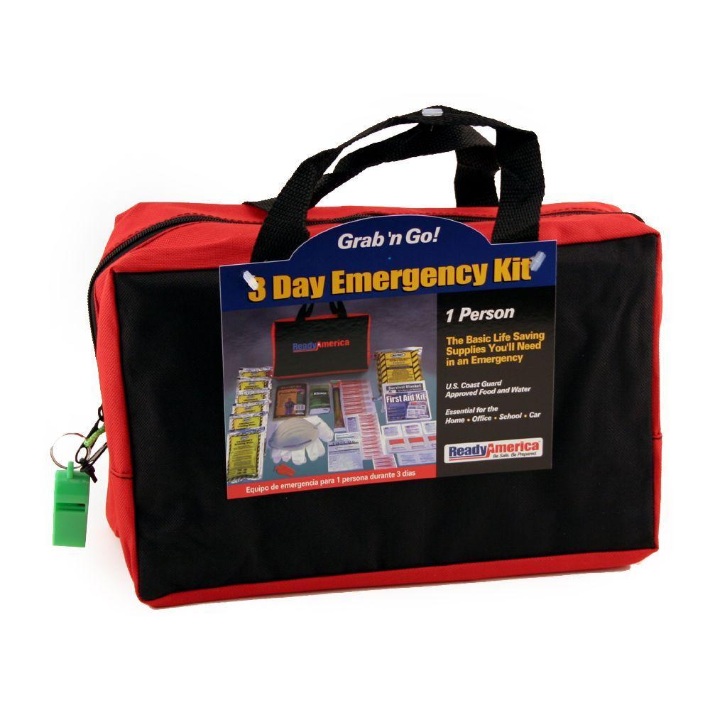 Ready America Grab 'n Go 1-Person 3 Day Emergency Kit, 17 Pieces, Black