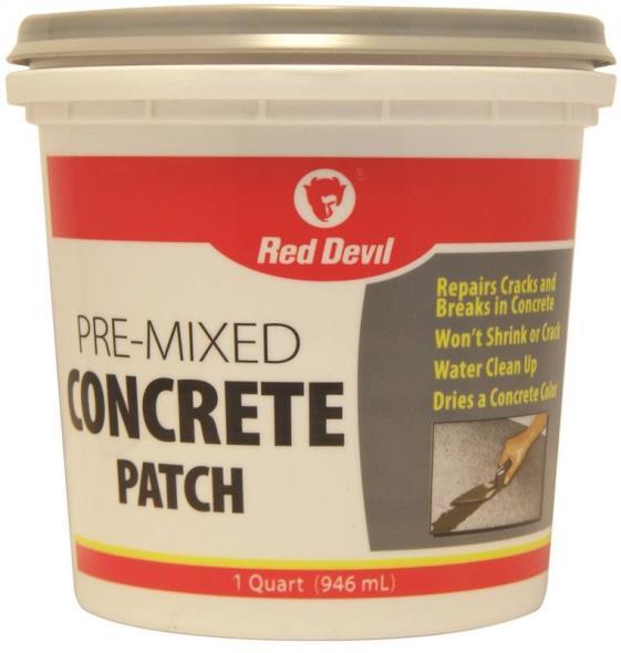 Red Devil 0644 Pre-Mixed Concrete Patch, 1 qt, Tub, Textured Gray, Mild Acrylic, Paste