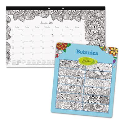 DoodlePlan Desk Calendar w/Coloring Pages, 17 3/4 x 10 7/8, 2017