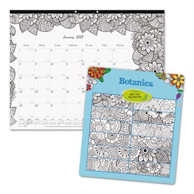 DoodlePlan Desk Pad Calendar w/Coloring Pages, 22 x 17, 2017